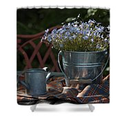 Forget-me-nots And Small Watering Can  Shower Curtain