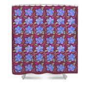 Forgetmenot Pattern On Marsala In Square Shower Curtain