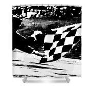 Formula 1 Vintage Checkered Flag Shower Curtain