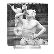 Forsyth Park Fountain - Black And White 1 2x3 Shower Curtain