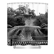 Forsyth Park Fountain - Black And White 2x3 Shower Curtain