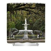 Forsyth Park Fountain - D002615 Shower Curtain by Daniel Dempster