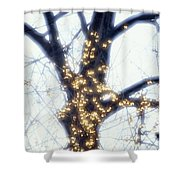 Forsythia  And Tree Trunk Shower Curtain
