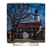 Fort Gratiot Lighthouse And Buildings With Clouds Shower Curtain