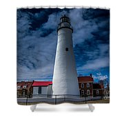 Fort Gratiot Lighthouse From The Water Side Shower Curtain