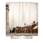 Fort Gratiot Lighthouse In Winter Shower Curtain
