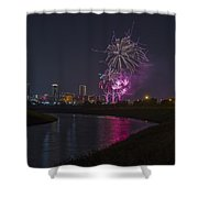 Fort Worth Fourth Of July Fireworks Shower Curtain by Jonathan Davison