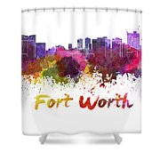 Fort Worth Skyline In Watercolor Shower Curtain