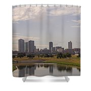 Fort Worth Skyline Partly Cloudy Shower Curtain