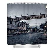 Fort Worth Stockyards Bw Shower Curtain