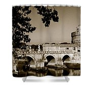 Fortress And Bridge In Sepia Shower Curtain