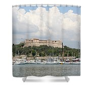 Fortress And Harbor - Cote D'azur Shower Curtain