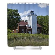 Forty Mile Point Lighthouse In Michigan Number 450 Shower Curtain