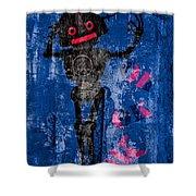 Foundation Number 102 Robot Graffiti  Shower Curtain by Bob Orsillo