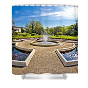 Fountain And Park In Zagreb Shower Curtain