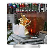 Fountain And Prometheus - Rockefeller Center Shower Curtain