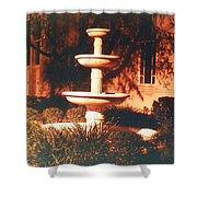Church Fountain Night Shadows Shower Curtain