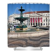 Fountain And Theater On Rossio Square In Lisbon Shower Curtain