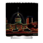 Fountain At City Garden In Neon Framed Shower Curtain