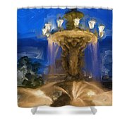 Fountain At Dusk Shower Curtain