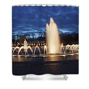 Fountain At Night World War II Memorial Washington Dc Shower Curtain
