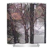 Fountain During Snowfall Shower Curtain