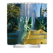 Fountain In Front Of A Building, Logan Shower Curtain