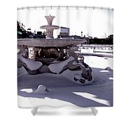 Fountain In The Snow Shower Curtain