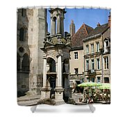 Fountain On The Market Place Autun Shower Curtain