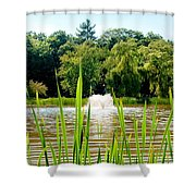 Fountain Side Shower Curtain by Greg Fortier