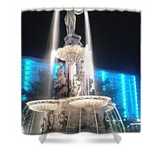 Fountain Square At Night Shower Curtain