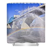 Fountains And The Market Street Bridge Shower Curtain by Tom and Pat Cory