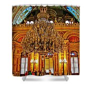Four And One-half Ton Crystal Chandelier In Ceremonial Hall In Dolmabache Palace In Istanbul-turkey  Shower Curtain