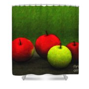 Four Apples Shower Curtain