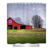 Four Corners Quilt Barn Shower Curtain