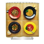 Four Dishes Of Different Food Shower Curtain
