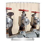 Four Emergency Water Valves Shower Curtain by Trever Miller
