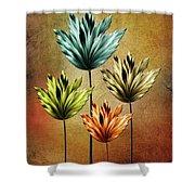 Four Fractal Flower Shower Curtain