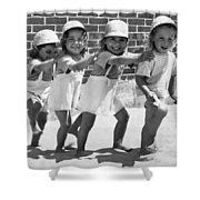Four Little Girls Having Fun Shower Curtain