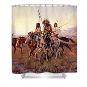 Four Mounted Indians Shower Curtain
