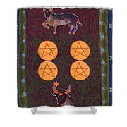Four Of Pentacles Shower Curtain