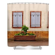 Four Pale Blue Shutters In Alsace France Shower Curtain