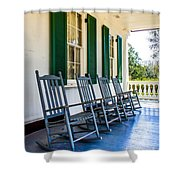 Four Porch Rockers Shower Curtain by Perry Webster