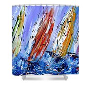 Four Sails To Four Winds Available As A Signed And Numbered Print On Canvas See Www.pixi-art.com Shower Curtain