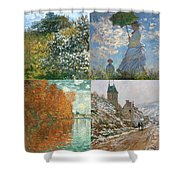 Four Seasons A Collage Of Monets Shower Curtain