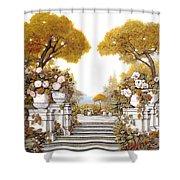 four seasons-autumn on lake Maggiore Shower Curtain by Guido Borelli