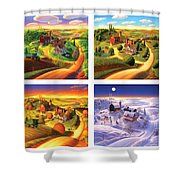 Four Seasons On The Farm Squared Shower Curtain