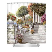 four seasons-summer on lake Como Shower Curtain