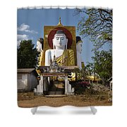 four sitting Buddhas 30 metres high looking in four points of the compass at Kyaikpun Pagoda Shower Curtain