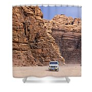 Four Wheel Drive Vehicles At Wadi Rum Jordan Shower Curtain